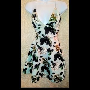 Revamped mint green and floral dress XS